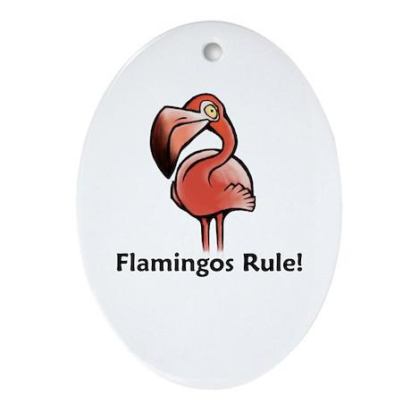 Flamingos Rule! Oval Ornament