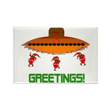 Space Aliens Christmas Rectangle Magnet (100 pack)