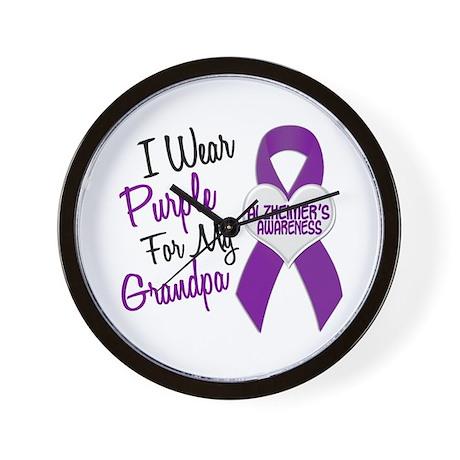 I Wear Purple For My Grandpa 18 (AD) Wall Clock