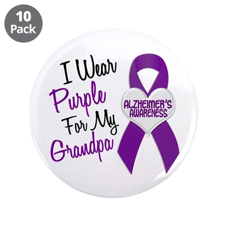 "I Wear Purple For My Grandpa 18 (AD) 3.5"" Button ("