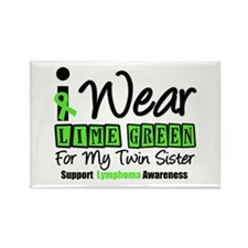 I Wear Lime Green Twin Sister Rectangle Magnet
