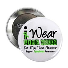 """I Wear Lime Green Twin Brother 2.25"""" Button (10 pa"""