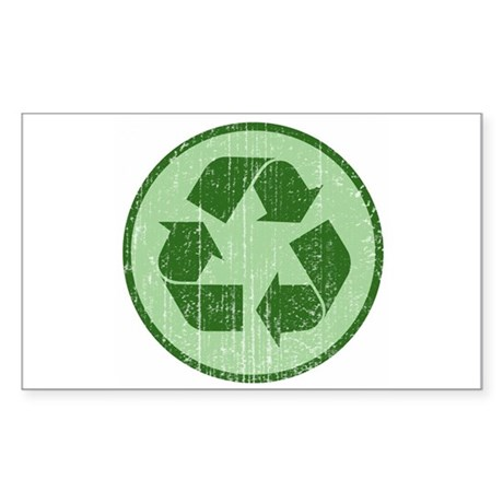 Distressed Recycle Sign Rectangle Sticker
