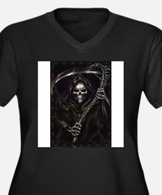 grim reaper poster Women's Plus Size V-Neck Dark T