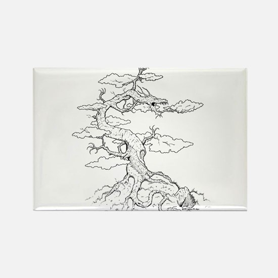 Ink Dragon Tree Rectangle Magnet
