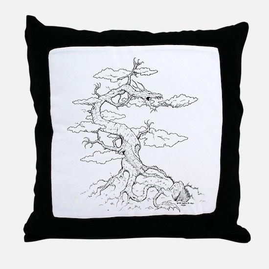 Ink Dragon Tree Throw Pillow