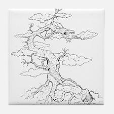 Ink Dragon Tree Tile Coaster