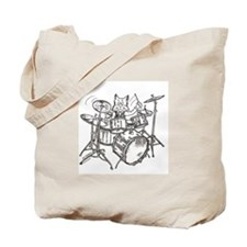 Catoons drums cat Tote Bag