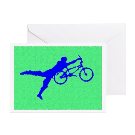 PAINTED GREEN BLUE BMX Greeting Cards (Pk of 10)