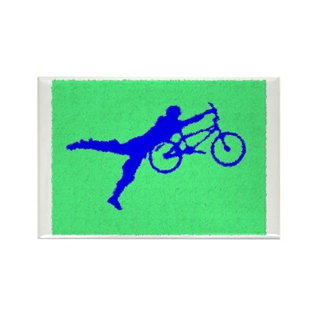 PAINTED GREEN BLUE BMX Rectangle Magnet (10 pack)