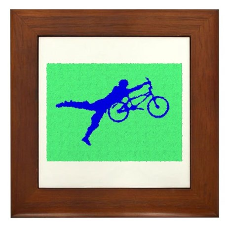 PAINTED GREEN BLUE BMX Framed Tile