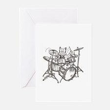 Catoons drums cat Greeting Cards (Pk of 10)