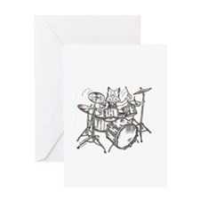 Catoons drums cat Greeting Card