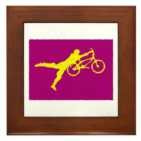 PAINTED PURPLE YELLOW BMX Framed Tile