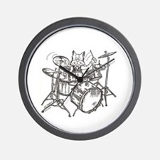 Catoons drums cat Wall Clock