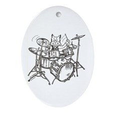 Catoons drums cat Oval Ornament