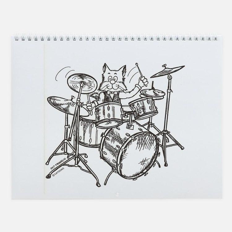 Catoons drums cat Wall Calendar