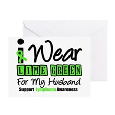 I Wear Lime Green Husband Greeting Cards (Pk of 10