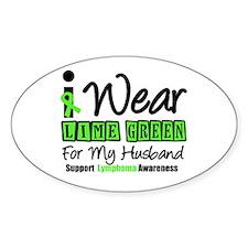 I Wear Lime Green Husband Oval Sticker (10 pk)