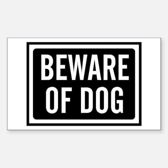 Beware Dog Sticker (Rectangle)