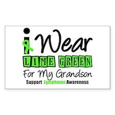 I Wear Lime Green Grandson Rectangle Sticker 10 p