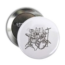 """Catoons drums cat 2.25"""" Button"""