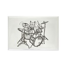 Catoons drums cat Rectangle Magnet