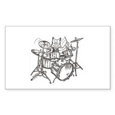 Catoons drums cat Rectangle Decal