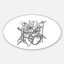 Catoons drums cat Oval Decal