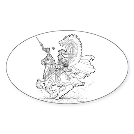 Ink Winged Hussar Oval Sticker