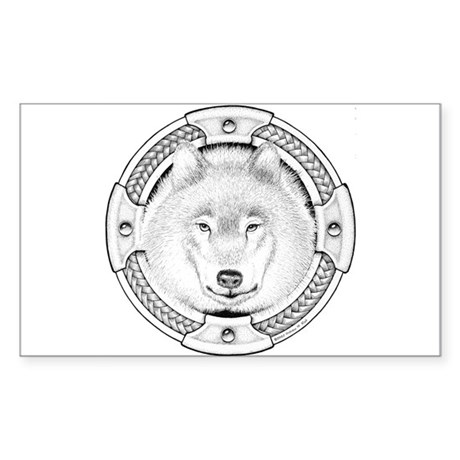 Ink Wolf Totem Rectangle Sticker