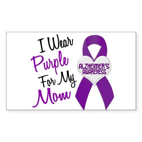 I Wear Purple For My Mom 18 (AD) Sticker (Rectangl