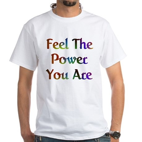 Feel the Power Design #573 Men's White T-Shirt