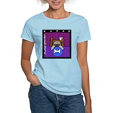 Pug Wants Pizza Women's Pink T-Shirt