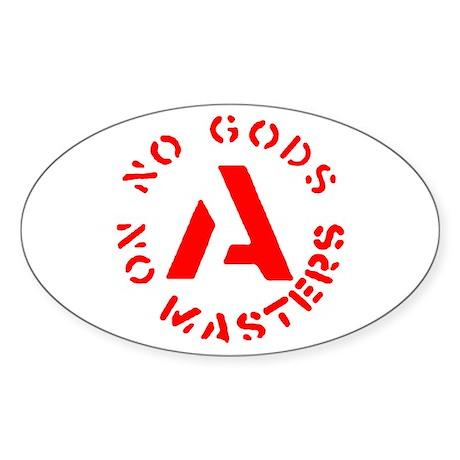 No Gods No Masters Oval Sticker