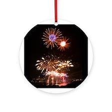 Boston Fireworks 1 - Round Ornament