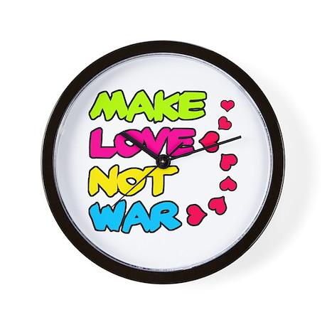 'Make Love Not War' Wall Clock