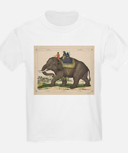 Vintage Painting of Men Riding an Elephant T-Shirt