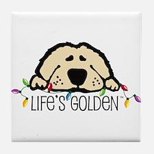 Life's Golden Christmas Tile Coaster