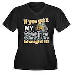 Grandpa Brought it Women's Plus Size V-Neck Dark T