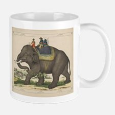 Vintage Painting of Men Riding an Elephant Mugs