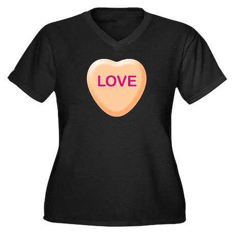 LOVE Orange Candy Heart Women's Plus Size V-Neck D