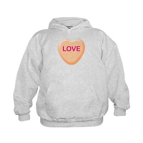 LOVE Orange Candy Heart Kids Hoodie