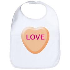 LOVE Orange Candy Heart Bib