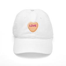 LOVE Orange Candy Heart Baseball Cap
