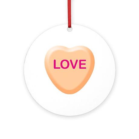 LOVE Orange Candy Heart Ornament (Round)