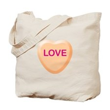 LOVE Orange Candy Heart Tote Bag