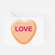 LOVE Orange Candy Heart Greeting Card