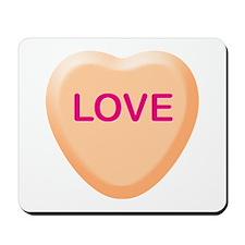 LOVE Orange Candy Heart Mousepad