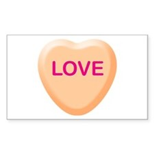 LOVE Orange Candy Heart Rectangle Decal